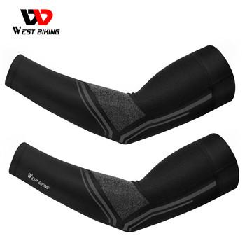 WEST BIKING kolarstwo ocieplacze na ręce bieganie siatkówka Sport odblaskowa oddychająca UPF 50 UV osłona przeciwsłoneczna rękaw do biegania tanie i dobre opinie CN (pochodzenie) 39-45CM YP0212116 Poliester Ice silk fabric Universal Ice silk sports arm sleeve Cool and breathable UV protection high elasticity