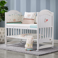 More Than Solid Wood Crib Newborn Stitching Big Bed Baby Cradle Bed Multi function Bb Bed Baby Furniture