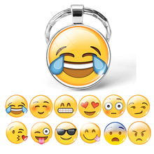 цена на Cute Emoji Keychains Cartoon Face Smile Emotion Kid Toy Keyrings Key Chain Holder Emoji Jewelry Drop Shipping 2019