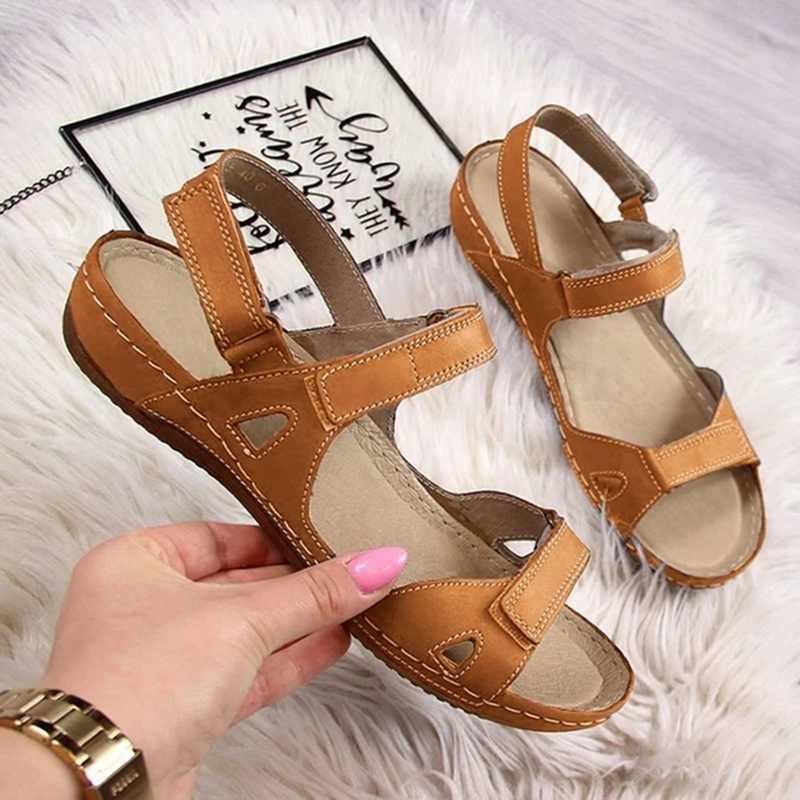 2020 yaz sandalet kadın düz bayan deri ayakkabı rahat ayak bileği Hollow rahat sandalet yumuşak taban ayakkabı Sandalias Mujer