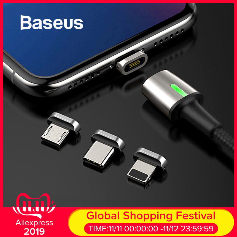 Baseus Magnetic Charger USB Cable Adapter For IPhone Samsung Huawei Fast Charging Micro USB Type C Cable Magnet Charger Adapter