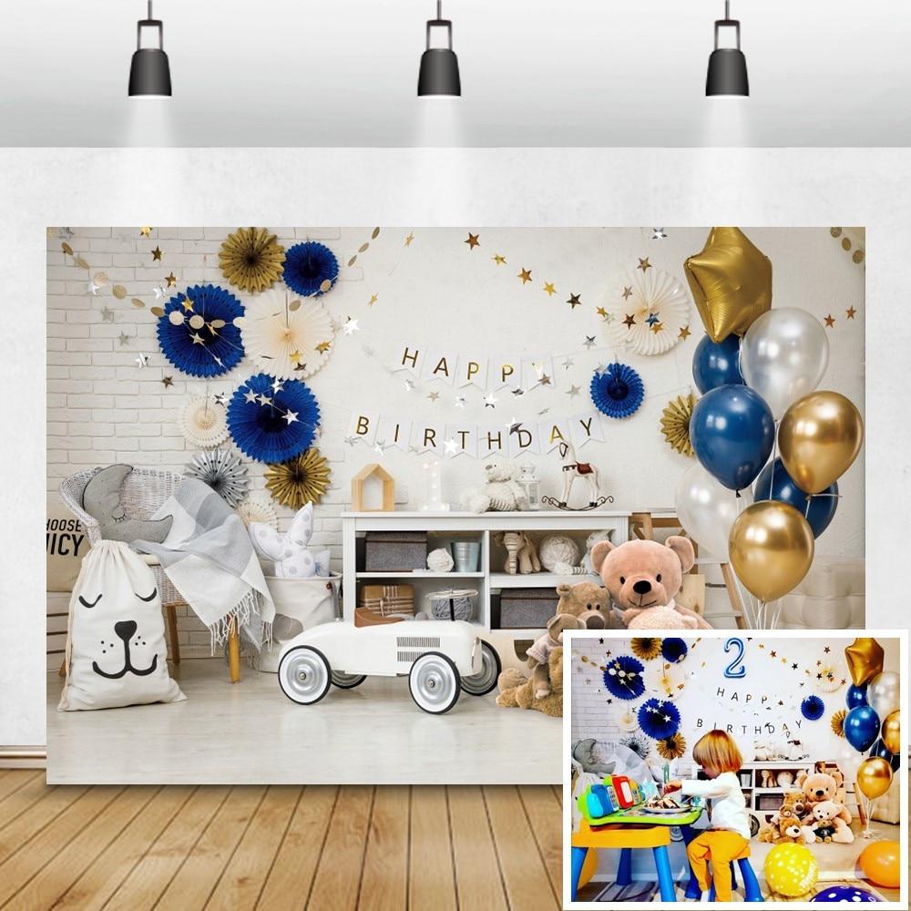 Laeacco Birthday Party Photo Background Balloons Bear Toy Stars Flower Baby Portrait Photography Backdrop Photozone Photo Studio