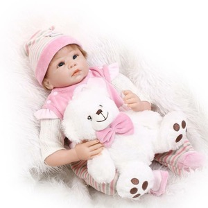 22 Inch 55 Cm Hand Realistic Reborn Baby Soft Silicone Pink Girl Doll with Clothes Baby Dolls Educational