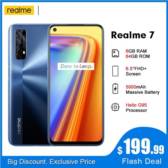 Смартфон realme 7 5000 мАч RMX2155 NFC 6,5 дюймов fhd + 6 Гб 64 Гб 48 МП четыре камеры Helio G95 Восьмиядерный 30 Вт DartCharge мобильный телефон