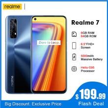 Realme 7 5000mah rmx2155 nfc 6.5 ffhd + 6gb 64 48mp quad cams smartphone helio g95 octa core 30w dartcharge telefone móvel