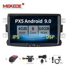 MEKEDE PX5 Android 9,0 8 ядерный 4 Гб+ 64 Гб gps Навигатор Радио для Dacia Duster Logan Sandero автомобильный DVD центральный кассетный плеер