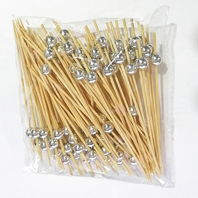 XUNZHE 100Pcs 12cm Silver beaded fruit sign cocktail dessert fork wooden fruit appetizer toothpick bead fruit wood toothpick(China)