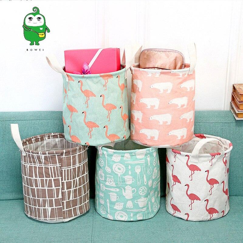 Cotton Linen Fabric Laundry Basket Waterproof Foldable Dirty Clothes Storage Bucket Dolly Tub Organizing Basket Storage Basket M