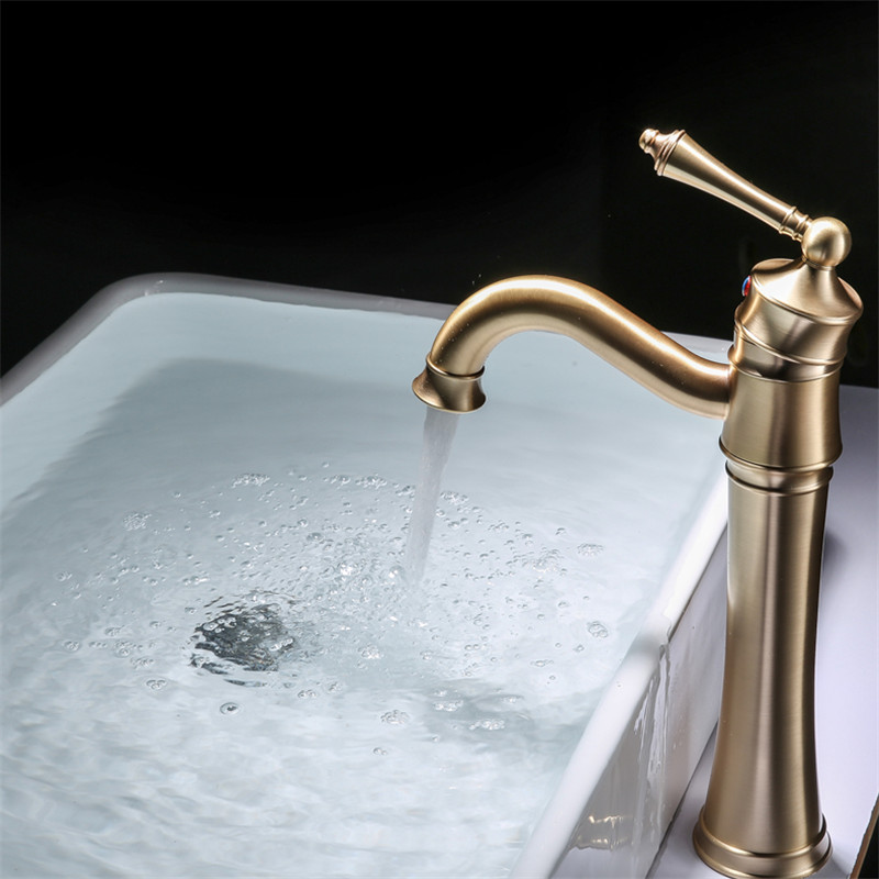 Bathroom Basin Faucets Solid Brass Brushed Gold Deck Mounted Single Handle Hot & Cold Sink Mixer tap Lavatory Crane Faucet