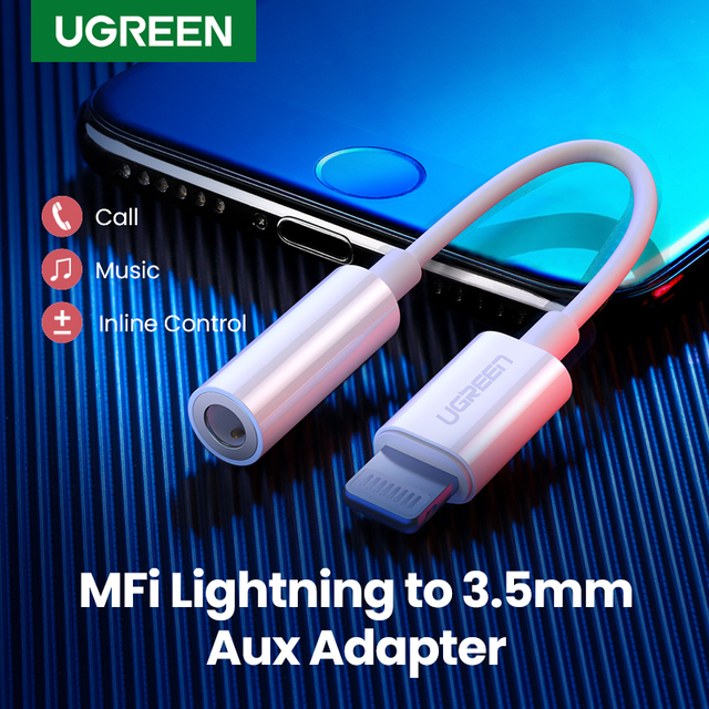 Ugreen MFi Lightning to 3.5mm Jack Headphones Adapter 3.5 AUX Cable Converter for iPhone 12 SE 11 11 Pro Max X XR iPhone 7 8 8P