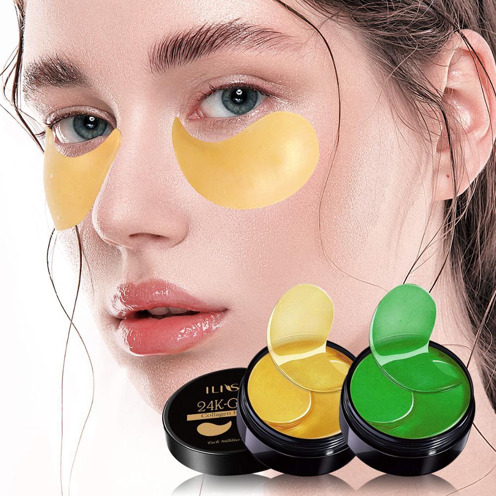 60pcs-gold colágeno máscara de olho algas verdes manchas de olho para círculo escuro hidratante almofada de olho anti-rugas nutritivo
