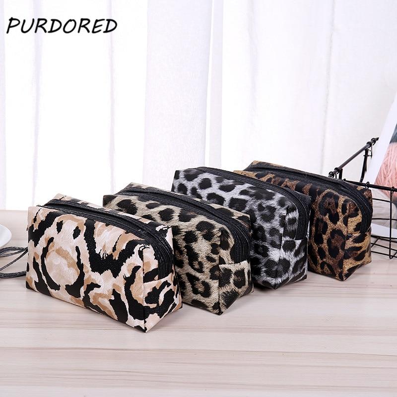 PURDORED 1 Pc Portable Leopard Cosmetic Bag Women Travel Makeup Organizer Storage Bags Neceser De Maquillaje Dropshipping