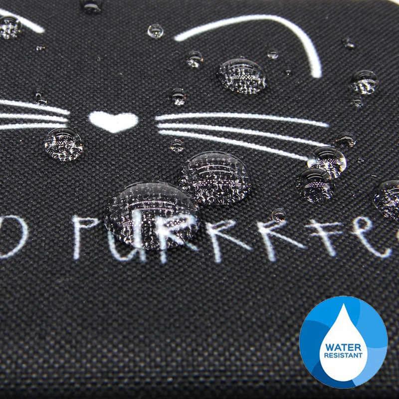 WULI سبعة لطيف القط الطباعة محفظة نسائية للعملات المعدنية مقاوم للماء سستة صغيرة بطاقة مفتاح الحقيبة محفظة صغيرة مربعة انخفاض التسوق