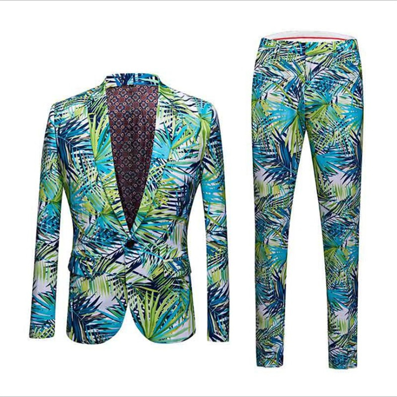 Floral Men Print Wedding Suit Blazer Hawaiian Style Spring Autumn Jacket Party Meeting Banquet Formal Coat With Pants