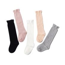 купить Newborn Baby Girls Socks Toddler Cute Soft Solid Cotton Knee High Baby Kids Socks For Infant Princess 0-4 Years 1 Pair дешево