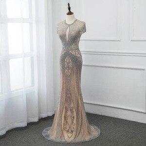 Image 2 - Yeni 2020 gümüş Rhinestones uzun abiye zarif çıplak tül Pageant elbise kadın elbisesi Mermaid Vestidos Cap Sleeve