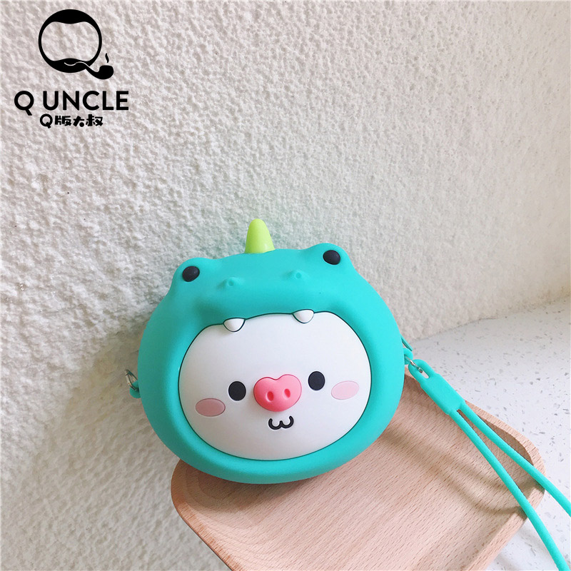 Q UNCLE Cartoon Cute Dinosaur Pig Kids Purse Zipper Silica Gel Kawaii Mini Wallet Chain Coin Purses Waterproof Messenger Bags