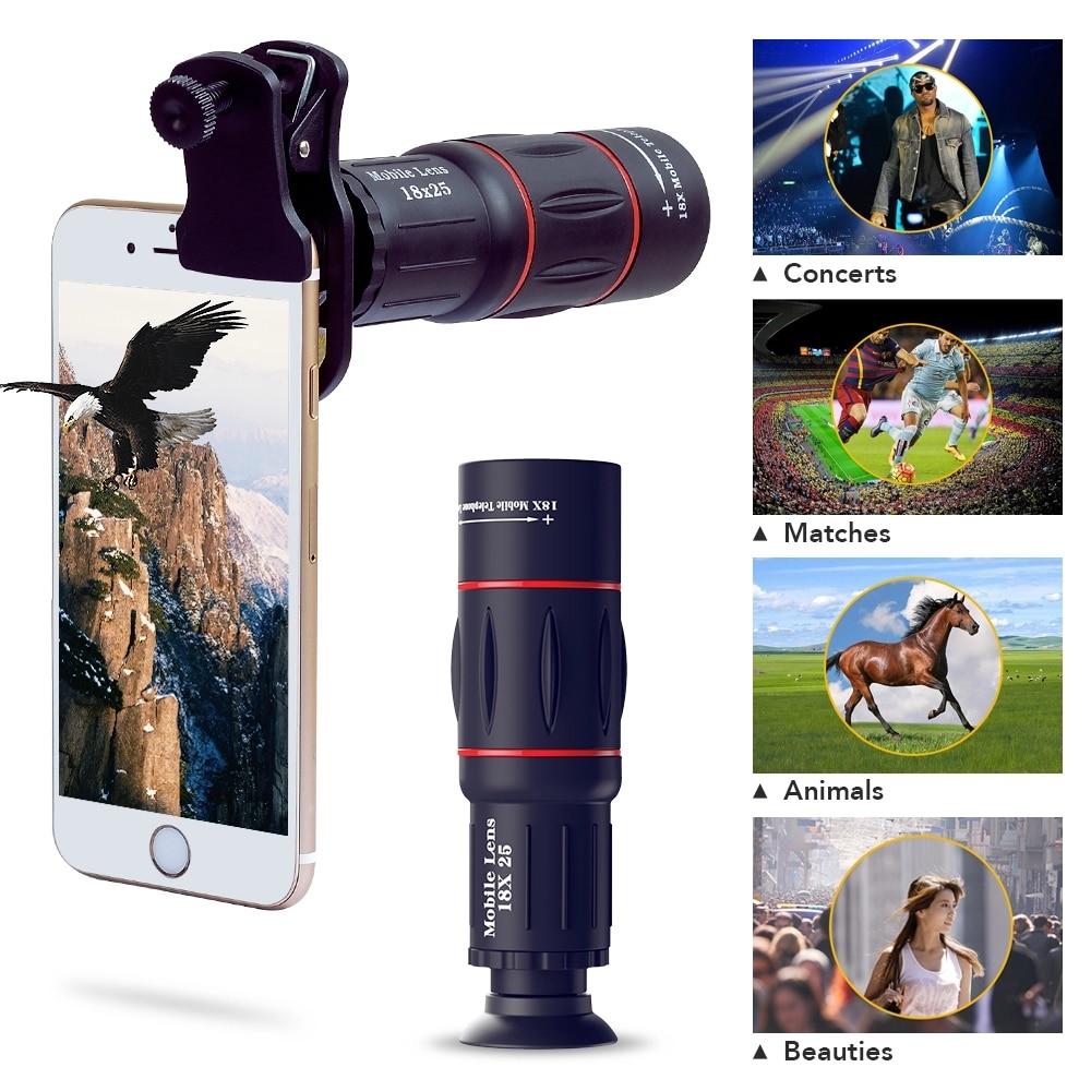 APEXEL Phone Lens Kit Fisheye Wide Angle macro 18X telescope Lens telephoto for iphone xiaomi samsung galaxy android phones