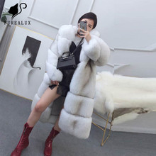 New Whole Skin Natural Real Fox Fur Coat Super Luxury Fashion Womens With Hood Thick Warm Handmade Clothing Customized