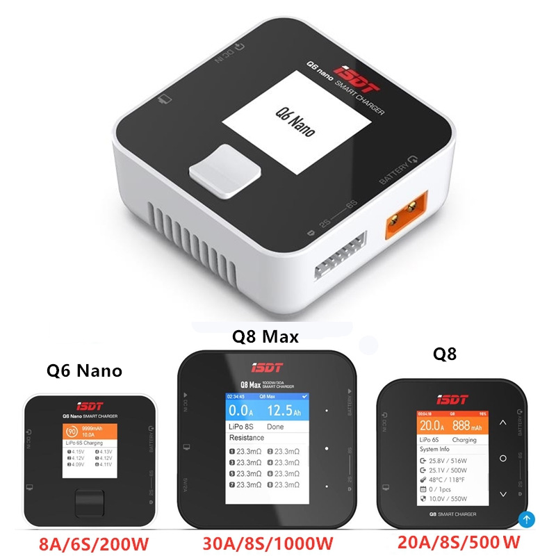ISDT Q6 Nano 200W / Q8 Lite 500W / Q8 Max 1000W 1-6S  2-8S Pocket High Power Lipo Battery Balance Charger For RC FPV Drone