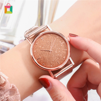 Womens Dress Stainless Steel Band Analog Quartz Watch Fashion Luxury Ladies Gold Rose Clock Glittery