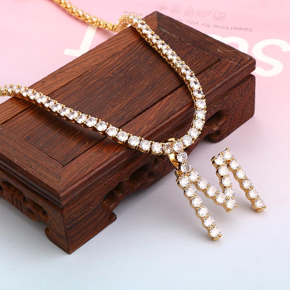 5mm Zircon Tennis Letter Necklaces Hip Hop Jewelry Tennis Chains Necklace Jewelry Initial Necklace Letter Necklace For Men/Women