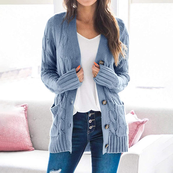 Women Knitted Cardigan 2020 Autumn Winter Casual Loose Plus Size Long Sleeve Sweater Outwear V-neck Single-breasted Knitwear