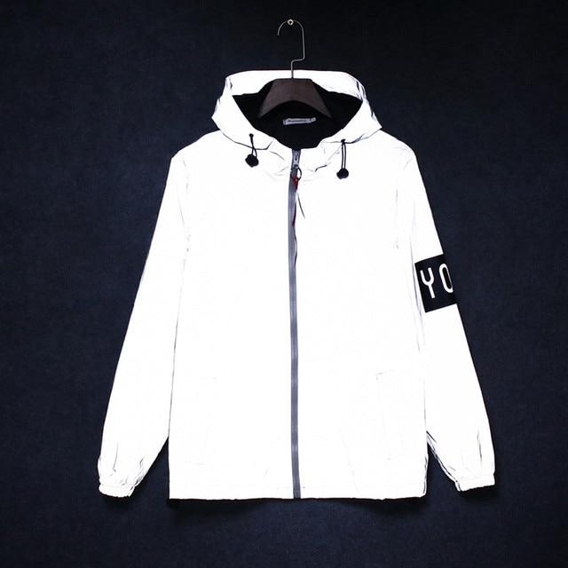 KANCOOLD 3m full reflective jacket men women harajuku windbreaker jackets hooded hip-hop streetwear night shiny coats jacket 824