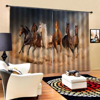 horse curtains Luxury Blackout 3D Curtains For Living room Bedding room Office stereoscopic curtains