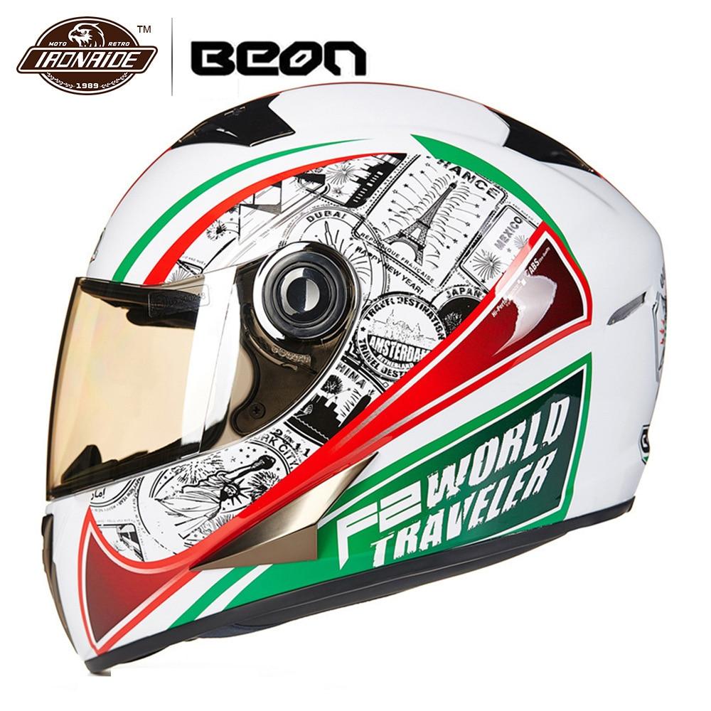 BEON Motorcycle Helmet Motocross Helmet Full Face Moto Helmet Off Raod Racing Riding Casco Moto 20 Colour for Men Women