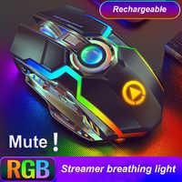Ratón óptico retroiluminado para ordenador portátil, periférico con Bluetooth, ergonómico, recargable, RGB, LED, 2,4G