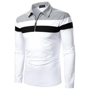Męskie koszulki Polo 2020 New Arrival jesień wysokiej jakości zamek błyskawiczny koszulka Polo Casual koszulki Polo męska koszulka Polo z długim rękawem Polo tanie i dobre opinie Trip Pełne Na co dzień Na wiosnę i lato CN (pochodzenie) POLIESTER REGULAR W paski oddychająca Stałe Colour combination