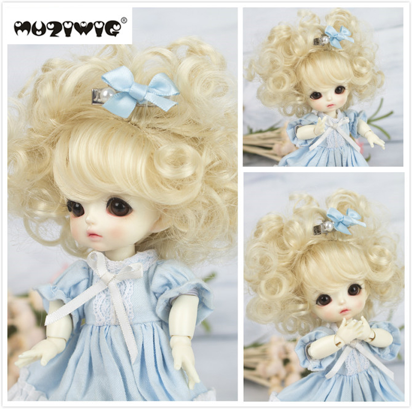 Muziwig Original Yellow Ombre Curly Wigs For Cute Baby Doll 1/8 BJD/SD Dolls Heat Resistant Wire