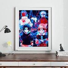 Модная девушка скандинавский постер аниме Наруто и Саске холст