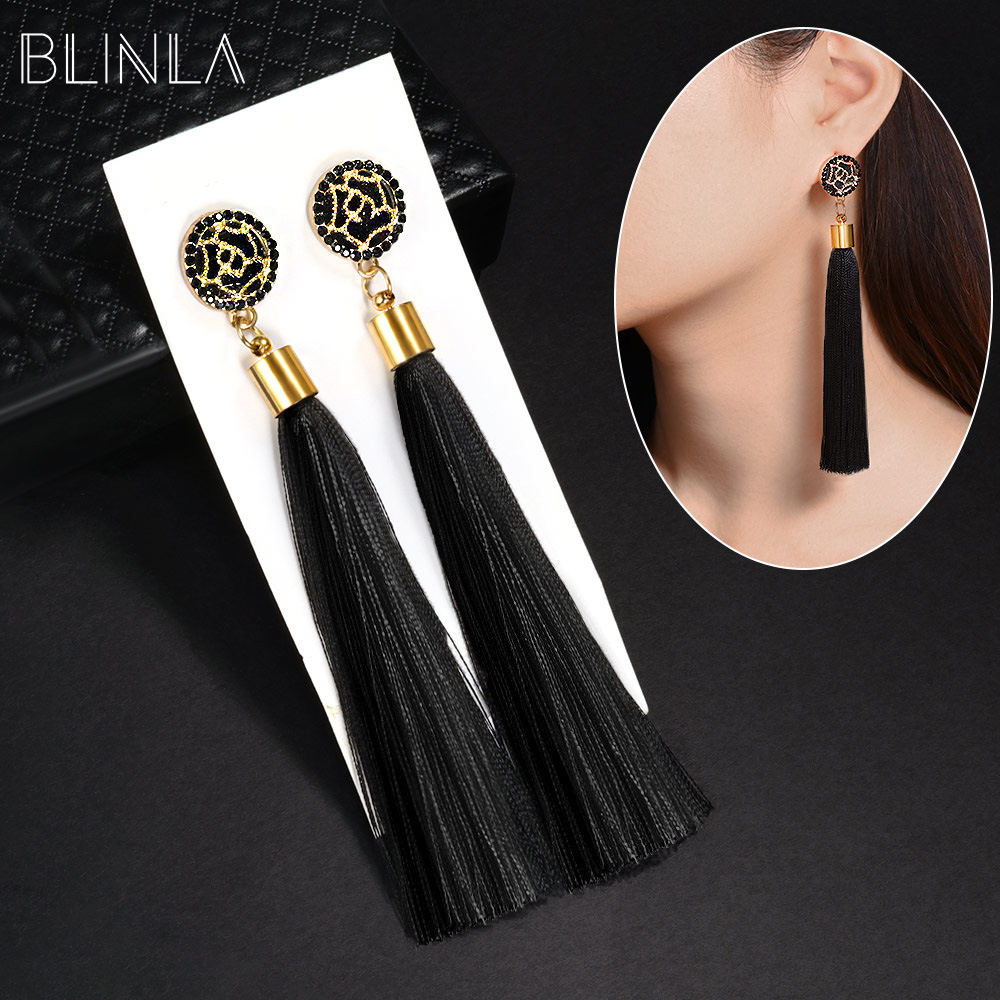 BLINLA Fashion Bohemian Tassel Crystal Long Earrings Black Red Silk Fabric Drop Dangle Tassel Earrings For Women 2019 Jewelry