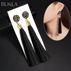 BLINLA Fashion Bohemian Tassel Crystal Long Earrings Black Red Silk Fabric Drop Dangle Tassel Earrings For Women 2019 Jewelry(China)