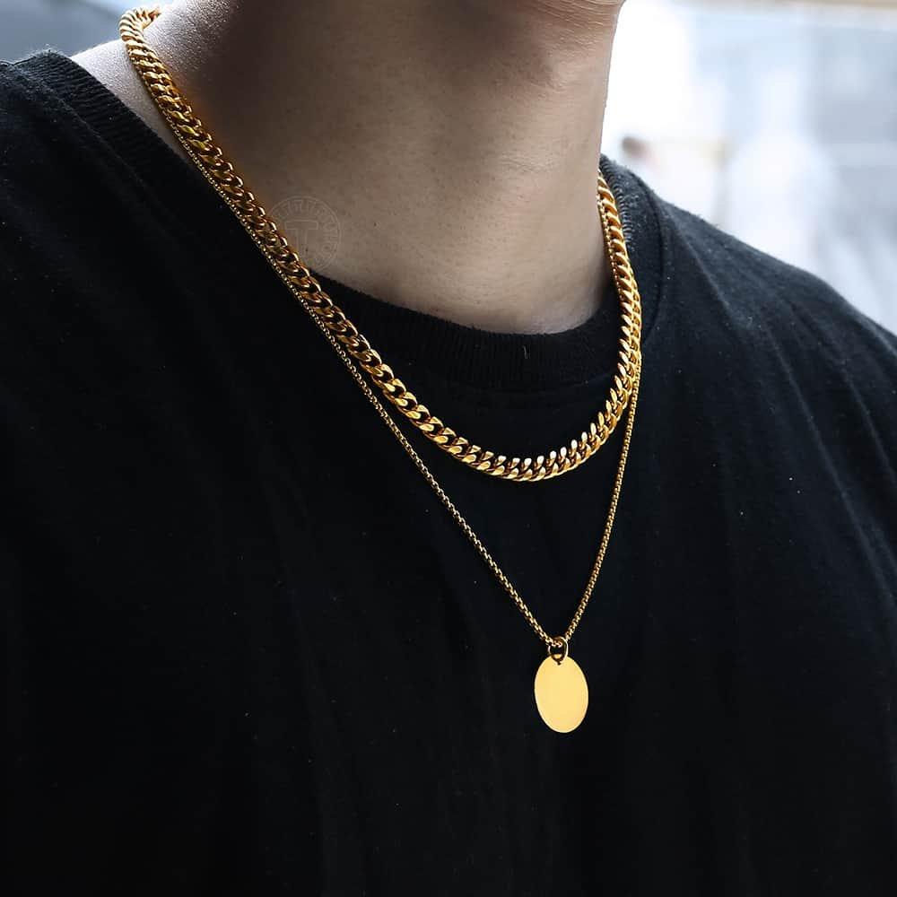 """16-30 /""""Hombre De Acero Inoxidable Plata Oro Negro Etiqueta de perro De Cadena Collar De Enlace"""