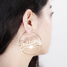 Hoop-Earrings Jewelry Gifts Customized-Name Personalised Stainless-Steel Gold with Statement