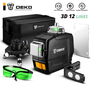 DEKO DC Series 12 Lines 3D Green Laser Level Horizontal And Vertical Cross Lines With Auto Self-Leveling, Indoors and Outdoors(China)