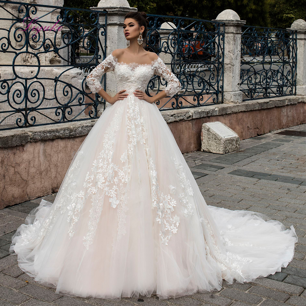 Liyuke Bridal Wedding Dress Ball Gown Lace Appliques Boat Neck Long Sleeves Back Illusion Customized Marriage Floor-length