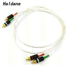 Haldane 8AG pojedynczy kryształ srebrny kabel Audio HIFI kabel połączeniowy RCA z pozłacaną wtyczka RCA do wzmacniacza odtwarzacz CD