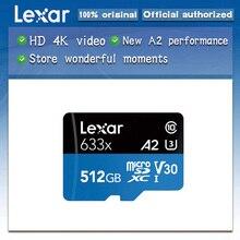 ليكسر عالية الأداء 633x microSDXC UHS I بطاقات الذاكرة 512GB مايكرو sd ماكس 100 متر/الثانية Class10 A2 ثلاثية الأبعاد 4K فلاش tf بطاقة