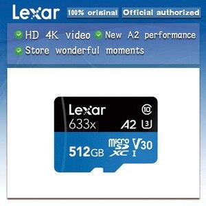 Image 1 - ليكسر عالية الأداء 633x microSDXC UHS I بطاقات الذاكرة 512GB مايكرو sd ماكس 100 متر/الثانية Class10 A2 ثلاثية الأبعاد 4K فلاش tf بطاقة