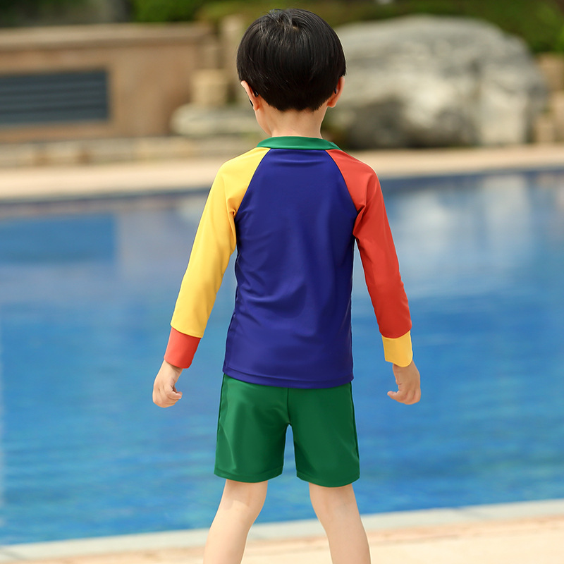 Boy CHILDREN'S Swimwear Long Sleeve Sun-resistant Quick-Drying Temperature Bathing Suit Large Children Baby Boxers Swimwear Thre