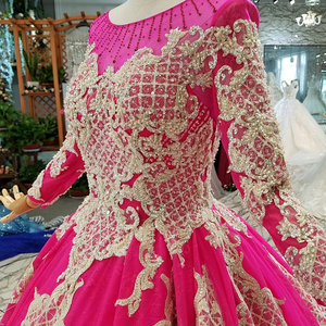 Image 5 - LS710455 magenta wedding party dresses long o neck long sleeve lace up back mother off the brides dress cheap graduation dress