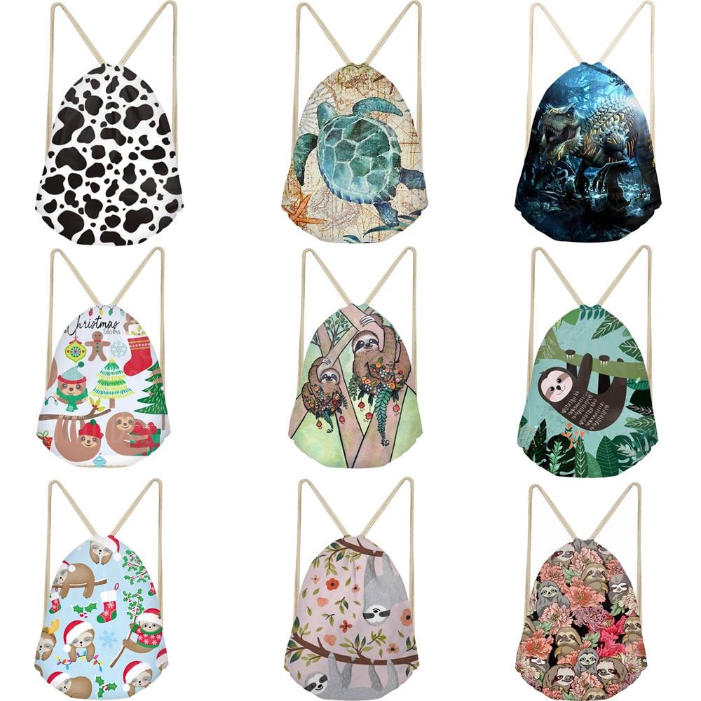 Cartoon Sloth Dinosaur Turtle Cow Printing Drawstring Bags Women Men Animal Pattern Beach Shoulder Bag Ladies Drawstring Bagpack