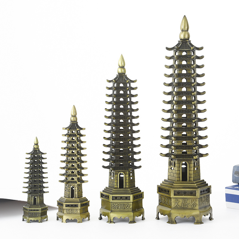 Горячая Распродажа фэн шуй цинковый сплав 3D Модель Китайская Wenchang башня пагода ремесла статуя сувенир домашнее украшение Металл рукоделие