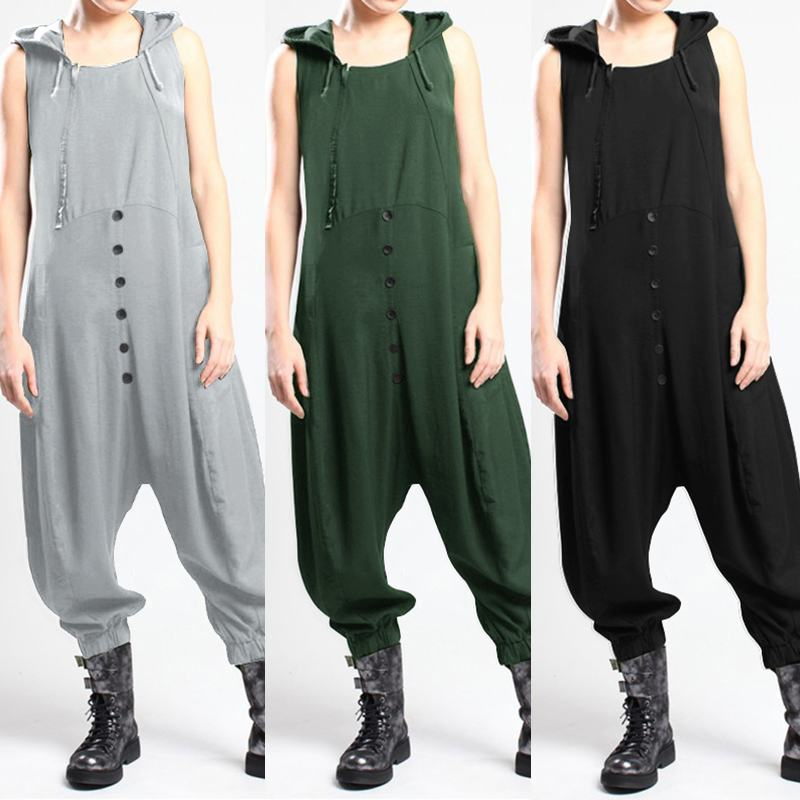 Women's Jumpsuits Drop Crotch Overalls ZANZEA 2020 Sleeveless Hooded Playsuits Solid Combinaison Femme Oversized Turnip Romper 7