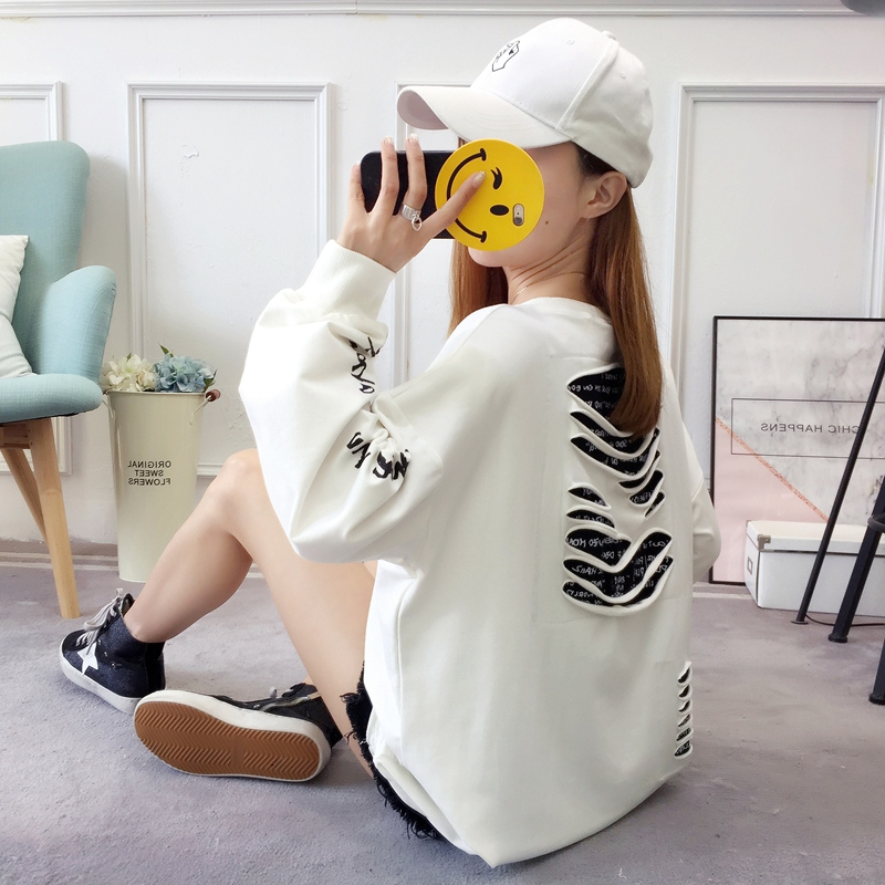 2019 autumn new Korean version of the XL T-shirt women's thin section long-sleeved loose hole wild T-shirt shirt women 81