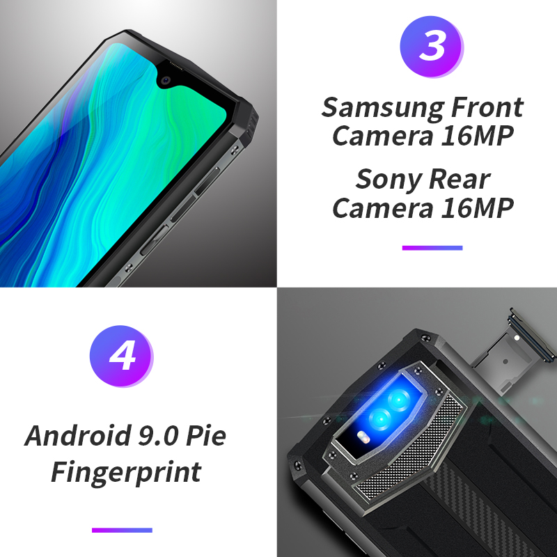 Image 4 - Blackview BV9100 6.3 FHD+ 13000mAh IP68 Rugged Smartphone 4GB 64GB Helio P35 Octa Core Android9.0 Mobile Phone 30W Fast ChargeCellphones   -